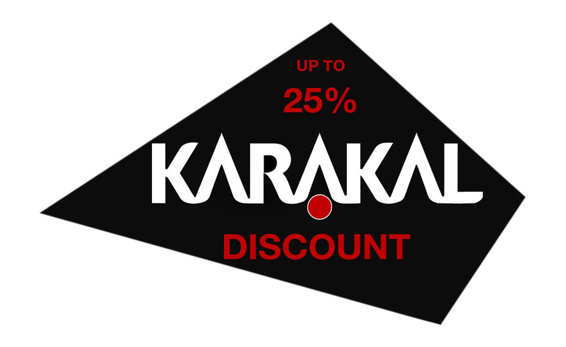 Karakal discount banner, offering 25% off all Karakal online purchases. Discounts are available from Squash Clubs who join the CG Squash membership scheme.
