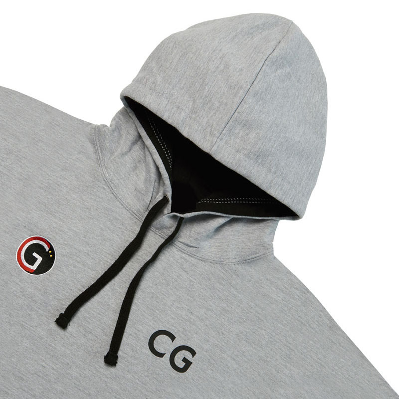 Front of our grey & black 'CG Squash' branded hoodie.