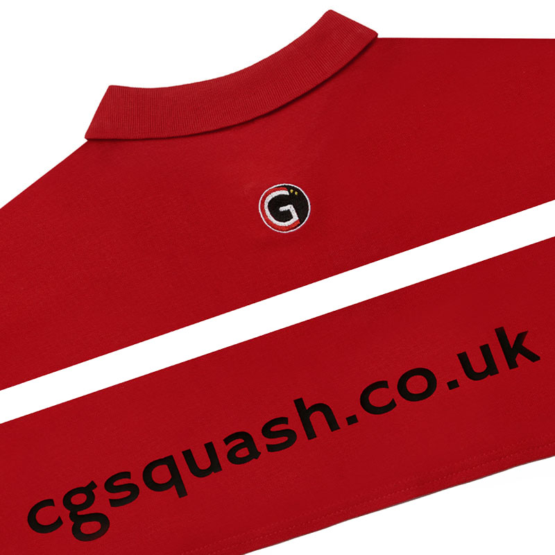 Rear of our red 'CG Squash' branded polo shirt.