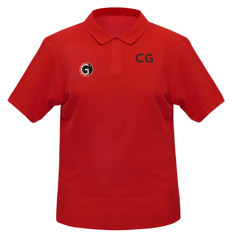 Large image of our red 'CG Squash' branded polo shirt.