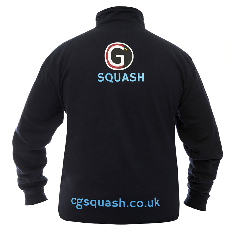 Rear of our navy blue 'CG Squash' branded sweatshirt.