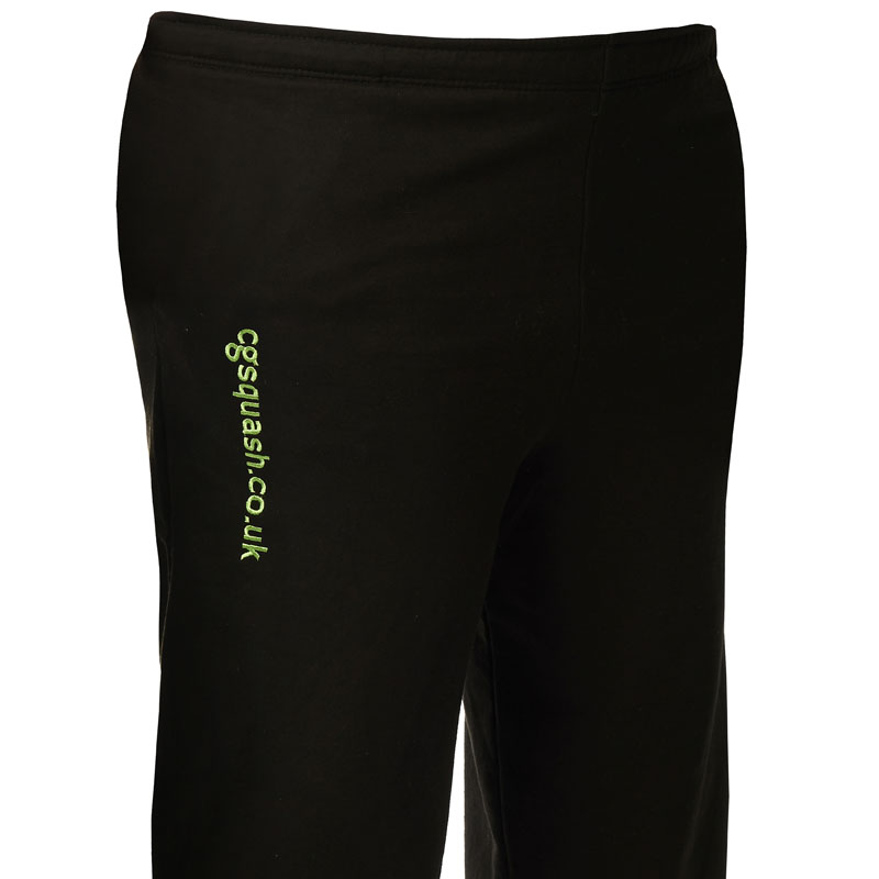 Large image of our black 'CG Squash' branded tracksuit bottoms.
